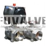 3pcs Threaded End Ceramic Ball valve with ISO 5211 Top